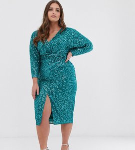 Read more about Asos design curve midi dress with batwing sleeve and wrap waist in scatter sequin-multi