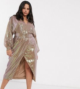 Read more about Asos design curve midi dress with blouson sleeve and belt in irridescent sheet sequin-multi