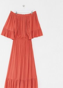 Read more about Asos design curve off shoulder maxi dress in texture dobby in rust-red