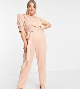 Read more about Asos design curve one shoulder puff sleeve jumpsuit in blush-pink