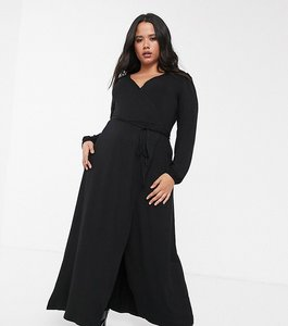 Read more about Asos design curve puff shoulder wrap maxi dress with high split in black
