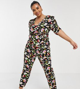 Read more about Asos design curve ruched sleeve peg leg jumpsuit in floral print-multi