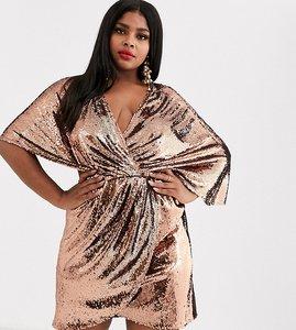 Read more about Asos design curve sheet sequin mini dress with asymmetric kimono sleeve-copper