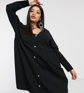 Read more about Asos design curve smock side button through dress in black