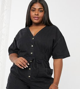 Read more about Asos design curve soft denim relaxed playsuit in black