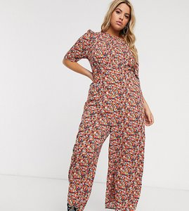Read more about Asos design curve tea jumpsuit with self button detail in mixed floral print-multi