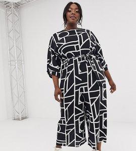 Read more about Asos design curve tie waist jumpsuit in mono geo print-multi