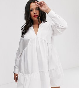 Read more about Asos design curve tiered collared cotton smock mini dress with long sleeves-white