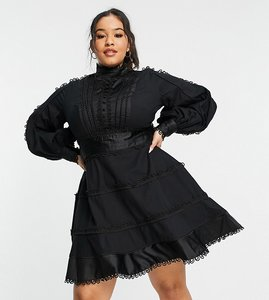 Read more about Asos design curve tiered mini dress with satin and lace trim detail in black-multi