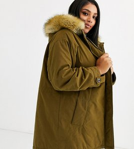 Read more about Asos design curve ultimate parka in khaki-green