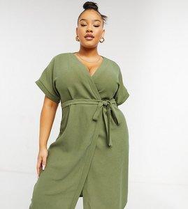 Read more about Asos design curve wrap midi dress in khaki-green