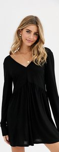 Read more about Asos design curved smock playsuit with long sleeves-black