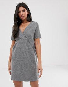 Read more about Asos design deep v super soft mini dress with concealed pockets-grey