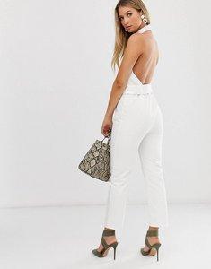 Read more about Asos design denim halter neck belted jumpsuit in white