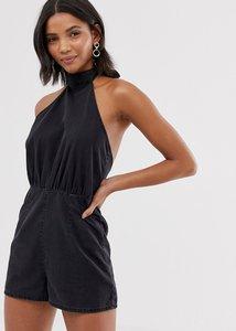 Read more about Asos design denim halterneck playsuit in washed black