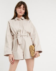 Read more about Asos design denim oversized belted playsuit in stone