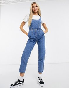 Read more about Asos design denim square neck fitted jumpsuit in midwash-blue