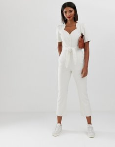 Read more about Asos design denim sweetheart neck puff sleeve jumpsuit in stripe-multi