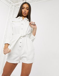 Read more about Asos design denim utility belted playsuit in white