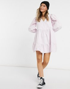 Read more about Asos design denim wrap smock dress lavender-purple