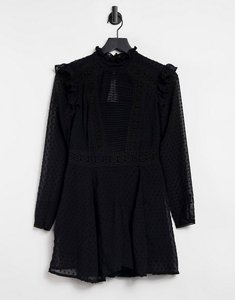 Read more about Asos design dobby lace high neck playsuit in black