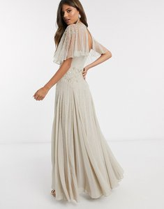 Read more about Asos design drape back maxi dress with delicate floral embellishment in taupe-multi