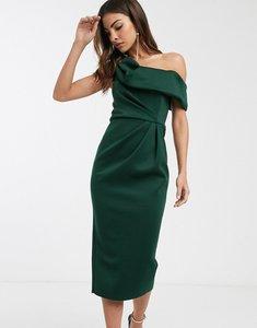 Read more about Asos design drape fallen shoulder midi pencil dress in forest green