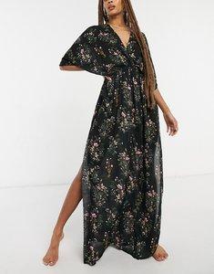 Read more about Asos design drape maxi beach dress in dark floral print-multi
