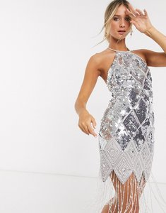 Read more about Asos design embellished halter midi dress with pearl fringe in silver