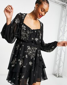 Read more about Asos design embellished tiered mini dress with blouson sleeve-black