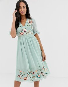Read more about Asos design embroidered midi dress with lace trims-green
