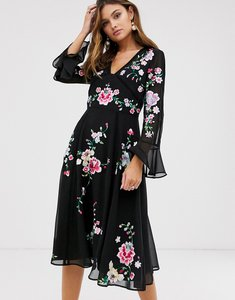 Read more about Asos design embroidered midi dress with lace trims in black