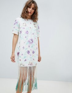 Read more about Asos design embroidered midi dress with tie dye fringe-multi