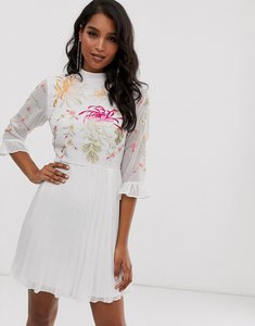 Read more about Asos design embroidered pleated mini dress with fluted sleeve in white