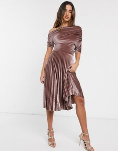 Read more about Asos design fallen ruched shoulder pleated midi dress in velvet-neutral