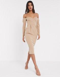 Read more about Asos design fallen shoulder bust cup midi dress in mocha-brown