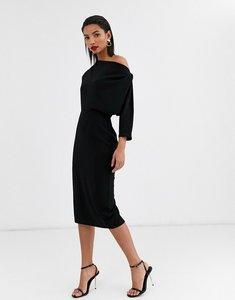 Read more about Asos design fallen shoulder midi pencil dress in black