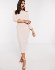 Read more about Asos design fallen shoulder midi pencil dress in blush-pink