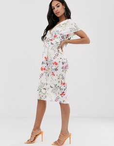 Read more about Asos design fallen shoulder midi pencil dress with tie detail in botanical floral-multi