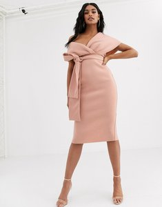 Read more about Asos design fallen shoulder midi pencil dress with tie detail in rose-neutral