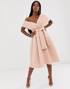 Read more about Asos design fallen shoulder midi prom dress with tie detail-brown
