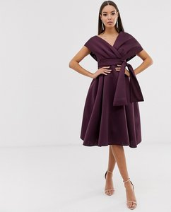 Read more about Asos design fallen shoulder midi prom dress with tie detail in aubergine-purple