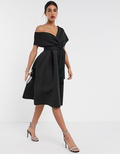 Read more about Asos design fallen shoulder midi prom dress with tie detail in black