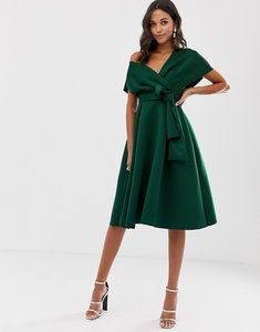 Read more about Asos design fallen shoulder midi prom dress with tie detail in bottle green