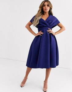 Read more about Asos design fallen shoulder midi prom dress with tie detail in navy blue