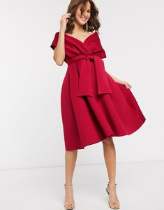 Read more about Asos design fallen shoulder midi prom dress with tie detail in red