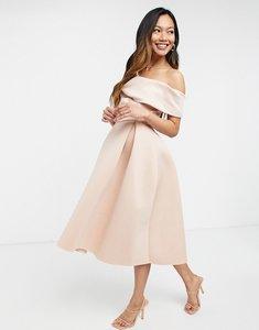 Read more about Asos design fallen shoulder prom midi dress in rosedust-pink