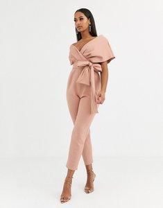 Read more about Asos design fallen shoulder scuba jumpsuit in blush-pink