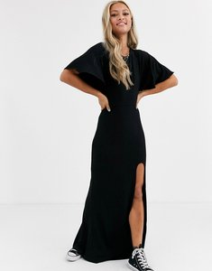Read more about Asos design flutter sleeve backless maxi dress with high split-black
