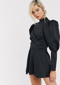 Read more about Asos design folded scuba playsuit with puff sleeve-purple